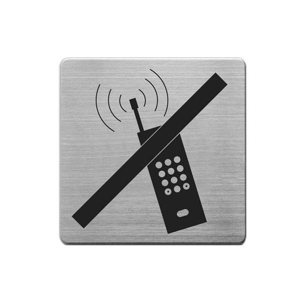 Aluminijumski piktogram Alco samolepljivi - zabranjena upotreba telefona