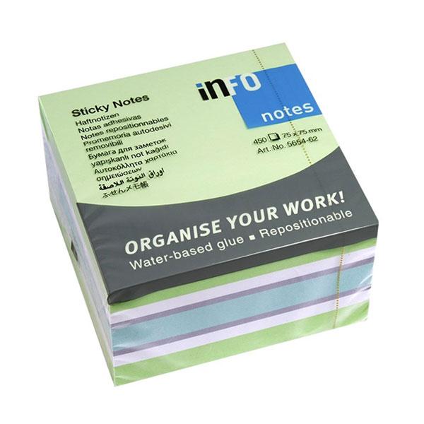 Blok samolepljivi 75x75 GREEN mix 1/450 INFO NOTES