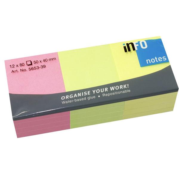 Blok samolepljivi 50x40 1/12 mix blistave boje INFO NOTES