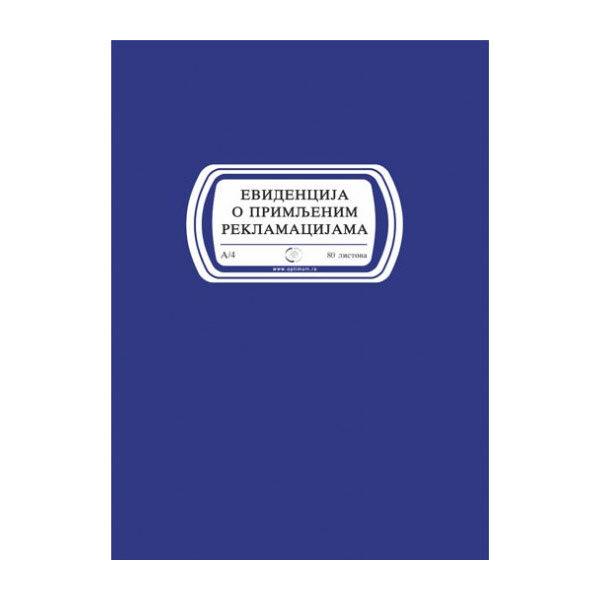 Knjiga evidencija o primljenim reklamacijama