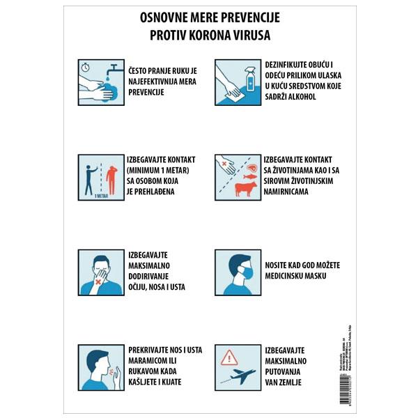 Nalepnica A4 mere prevencije virusa Korona
